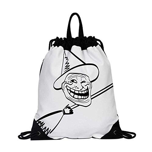 Humor Decor Canvas Drawstring Bag,Halloween Spirit Themed Witch Guy Meme Lol Joy Spooky Avatar Artful Image for Shopping Travel,One_Size