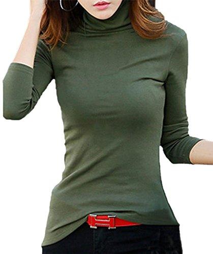 LIREROJE Womens Cotton Plain Long Sleeve Turtleneck Top T-Shirt 02 Olive S