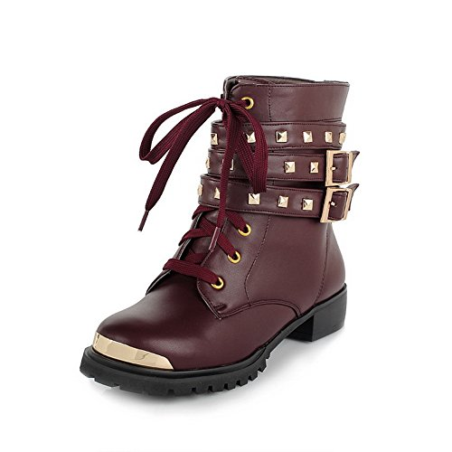 AmoonyFashion Womens Round Toe Closed Toe Low-Heels Boots With Buckle Red ezGsviN