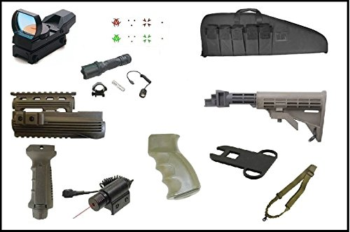 Ultimate Arms Gear AK Dual Red Green Illuminated Special Battle Edition Reticle Open Reflex Sight + Mount + Flashlight + Red Dot Laser + Deluxe Case + Dual Loop Slot (Deluxe Tactical Laser Sight)