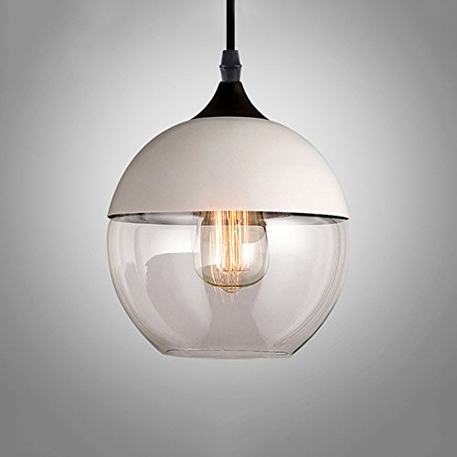 Frideko Creative Modern Glass Loft Lamp Shade Ceiling Pendant Light for Restaurant Coffee Shop Bookstore Cafe Dining Room (Type D, White & Clear)