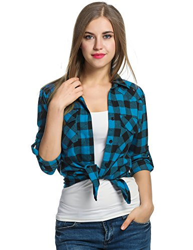 Women's Plaid Flannel Shirt, Roll Up Long Sleeve Checkered Cotton Shirt (X-Large, Blue)