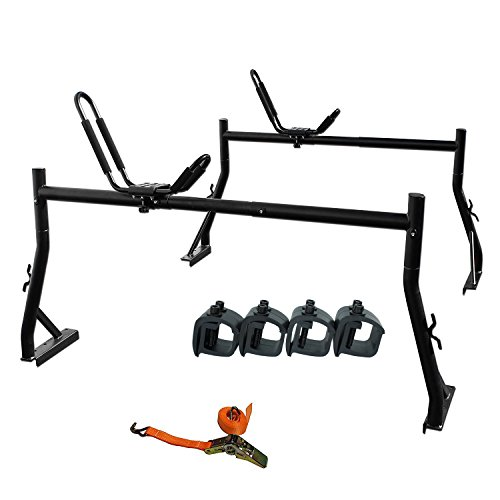 AA-Racks Model X35 Truck Rack with (8) Non-Drilling C-Clamps and Kayak J-Racks w/ Extended Bolts and Heavy Duty 1 Ton Ratcheting Strap