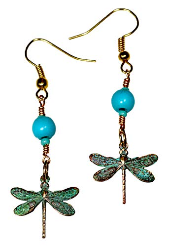 Verdigris Patina Solid Brass Delicate Dragonfly Dangle Earrings - ()