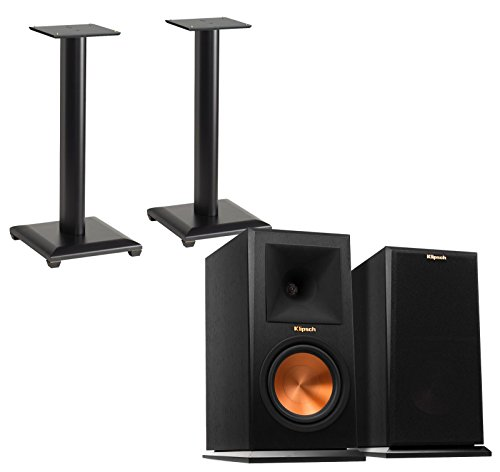 Klipsch Reference Premiere RP160M (Pair) Bookshelf Speakers with Sanus NF24B (Pair) Bookshelf Speaker Stands - Ebony by Klipsch