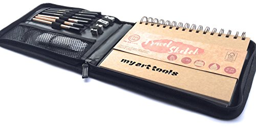 my art tools 10 pcs drawing art set has a sketchbook of 150 pound paper pad, travel kit bag with charcoal,graphite pencils ,kneaded eraser supplies for a quick sketch,ink, watercolor (Ink Pad Charcoal)