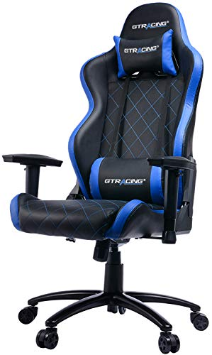 GTRACING Gaming Chair Heavy Duty Ergonomic Chair Racing Video Game Chair with Headrest and Lumbar Recliner Swivel Rocker E-Sports Chair(902-Blue)