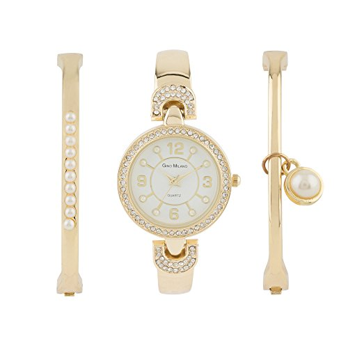 Ladies Gold Watch with Matching Pearl Bracelets Gift Set-(Gold-White) (Gold Pearl Watch)