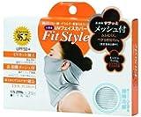 おたふく手袋 UVカット率95.7% UPF50+ 鼻上からデコルテまで超長 UVフェイスカバー ボーダー(全長約34cm) UV-2996