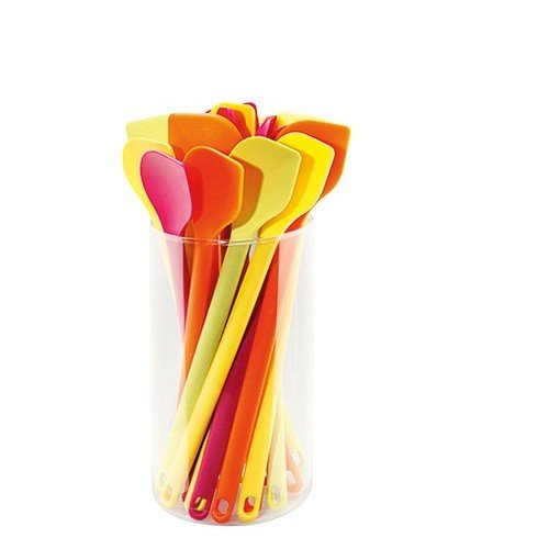 GSD Cooking Spoon Set Round 20 Piece Of Silicone, Lime Green/Sunny Yellow/Orange/Magenta