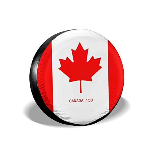 Yilad Car Tire Cover Sunscreen Protective Cover Canada Flag Water Proof Universal Spare Wheel Tire Cover Fit for Trailer, RV, SUV and Various Vehicles 17 inch