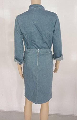 Femmes Blansdi Revers Long Bouton Manche Vers Le Bas Poche Déchiré Robe Midi En Denim Bleu Moulante