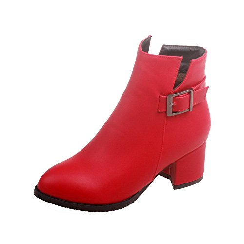 Allhqfashion Women's Solid Kitten-Heels Pointed Closed Toe PU Zipper Boots Red