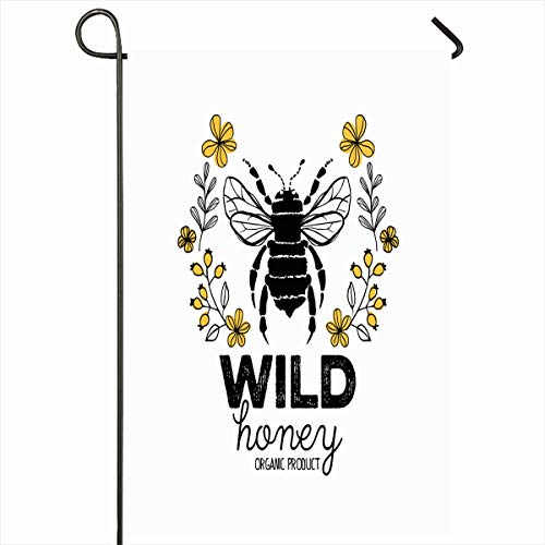 Ahawoso Outdoor Garden Flags 12x18 Inch Bee Honey Label Organic Vintage Honeycomb Beehive Badge Design Vertical Double Sided Home Decorative House Yard Sign