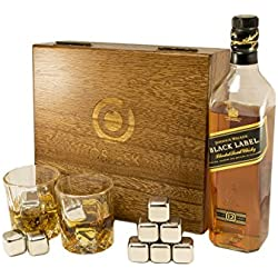 Whiskey sipping stones - Set of 8 Stainless steel beverage chilling rocks- comes with 2 Large drinking glasses and a velvet bag - Keeps your drink Ice cold and no water dilution - stored in a gift box