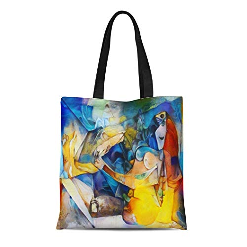 Semtomn Canvas Bag Resuable Tote Grocery Adorable Shopping Portablebags Alternative Reproductions of Famous Paintings By Picasso Applied Abstract Kandinsky Natural 14 x 16 Inches Canvas Cloth Tote Bag