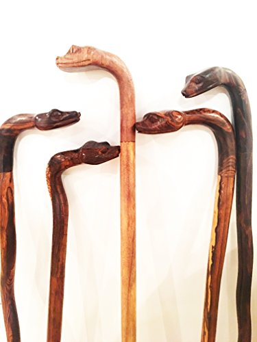 Hiking or Walking Stick Hand Carved of Ironwood - Rustic Look and Hand-Carved Snake Design - Strong, Shock-Absorbent & Lightweight for Hiking, Camping, Walking. Sizes Vary Between 35 and 41 inches.