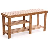 SONGMICS 100% Bamboo Shoe Rack Bench,2-tier Entryway Storage Organizer with Seat, Shoe Shelf for Boots,Ideal for Hallway Bathroom Living Room Corridor Kitchen and Garden Natural ULBS06N