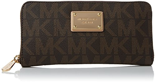 MICHAEL Michael Kors Mk Logo Zip Around Continental,Brown,one size by MICHAEL Michael Kors