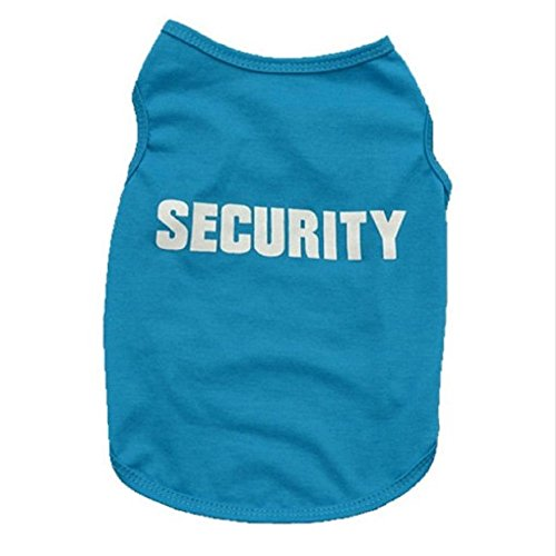A2Pets Security Dog Pet Clothes Soft Cotton Puppy Summer For Small Tiny Dog Vest Wear (S, Blue) (Badass Characters)