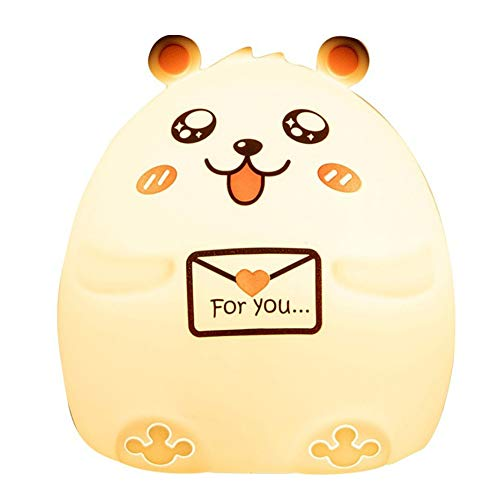 (Night Light for Kids,Cute Animal Soft Silicone Night Light with Touch Sensor, Colorful Change Toddler Lamp)