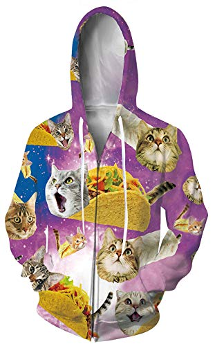 Leapparel Women 3D Hoodie Purple Hoody Print Graphic Sweatshirts Long Sleeve Pullover with Pockets Size XL