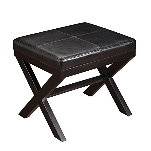 Asense Black Bonded Leather Contrast Stitch Ottoman Footstool with X-shaped Legs Backless 19.25x16.5