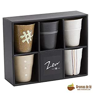 Aromas de Té - Juego de 5 Vasos de Cerámica japonesa para té con capacidad de 15 cl cada uno, incluye caja