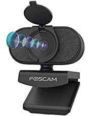 $29 » Webcam with Dual Microphones, Foscam 2K/4MP 1080P @60fps HD USB Web Cam for Desktop Laptops PC Computer, Windows Mac OS, Includes 360 Degree Flexible Mount & Privacy Cover, 2021 Newest Version