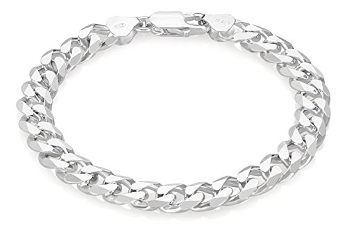 8mm 925 Sterling Silver Italian Crafted Beveled Cuban Curb Chain Bracelet, 8 inches + Cleaning Cloth
