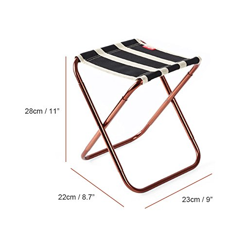 Dreamsoule Portable Folding Camping Stool Seat Ultralight Compact Camp Footrest Chair with a Storage Bag Black Stripes