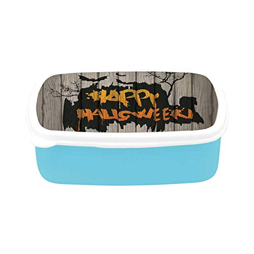 Halloween Decorations Simple Plastic Lunch Containers,Happy Graffiti Style Lettering on Rustic Wooden Fence Scary Evil Artwork for home,7.09