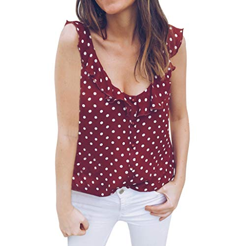 Fashion Blouses Tops, top Femme 2019 sans Manches Tank Tops for Teen Girl Sleeveless Straps Tank Top Verano Red XL