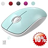 FD Wireless Mouse(Battery Included), V8 2.4G Slim Silent Travel Cordless Mouse Optical Mice with Nano Receiver for Laptop Computer PC Macbook Chromebook and Notebook (Mint Green)