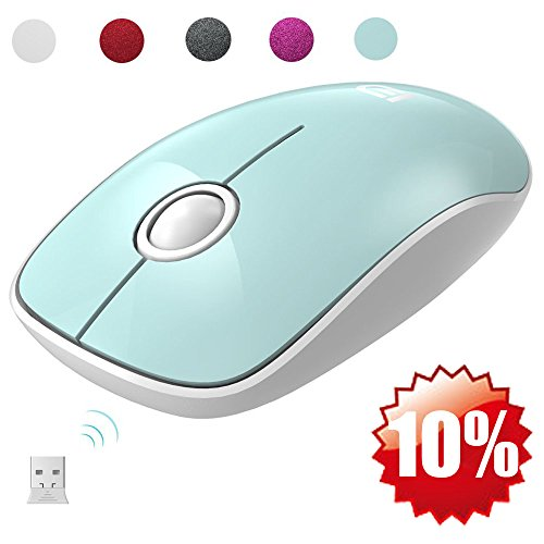 FD Wireless Mouse(Battery Included), V8 2.4G Slim Silent Travel Cordless Mouse Optical Mice with Nano Receiver for Laptop Computer PC Macbook Chromebook and Notebook (Mint (Cordless Mouse Laptops)