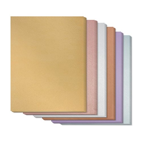 48 Count Metallic Color Combo Stationery Paper Invitation Paper for Writing, Scrapbooking, Letters, Certificates, Crafts - Includes Gold, Silver, Rose, Copper, Amethyst, Aquamarine, 8.5 x 11 Inches