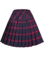 EXCHIC Women's Tartan Elastic Pleated Plaid Skirts Schoolgirls Mini A-line Skirt Cosplay Costumes