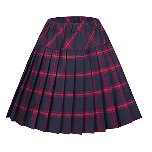 Skirt School Plaid Apparel (Urban CoCo Women's Elastic Waist Tartan Pleated School Skirt (X-Large, Series 8 red))