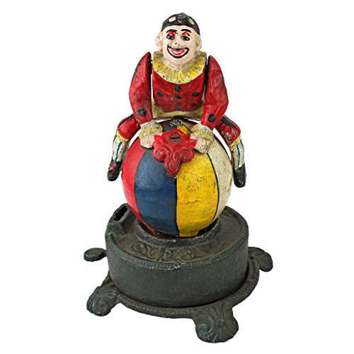 Design Toscano Spinning Acrobat Clown on Globe Authentic Cast Iron Mechanical Bank