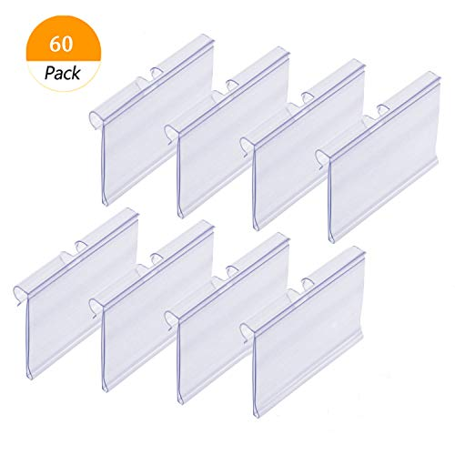 (Darmal 60 PCS Clear Plastic Label Holder, Wire Shelf Retail Price Tag Label Card Merchandise Sign Display Holder (6cm x 4.2cm))