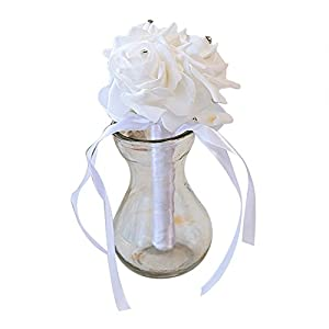 Dds5391 New 3 Heads Artificial Rose Flower Bridal Wedding Bouquet Party Banquet Home Decor - White 35