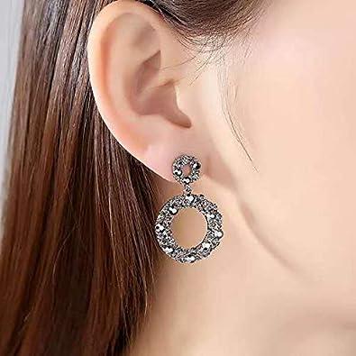 basha Crystal Rhinestone Pierced Wedding Bridal Teardrop Drop Dangle Earrings Sterling Silver Made Crystals Black Grey Drop Pierced Earrings for Women/…