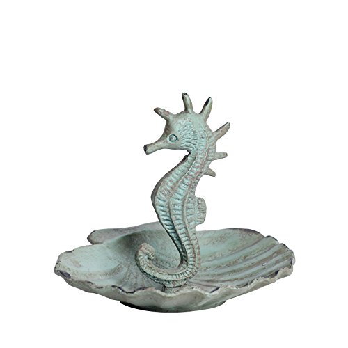 NIKKY HOME Shabby Chic Metal Seahorse Jewelry Holder Stand Display Storage Earring Necklace Ring Aqua Blue