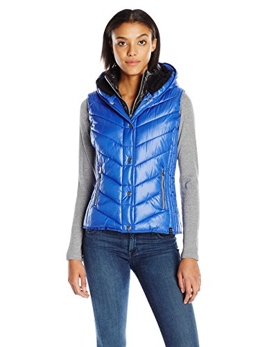 (Marc New York Performance Women's Marc Ny Performance Systems Puffer Vest W/Sherpa Lined Hood, Arctic/Black XL)