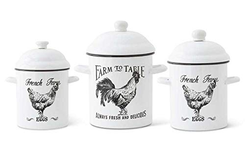 K&K Interiors Enameled Round Rooster Canisters- Set of 3, White/Blacl