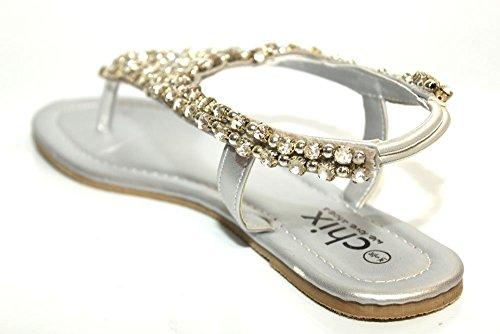F11244Sl - Chaussures plates - soirée - femme - argenté