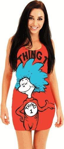 Dr. Seuss Thing 1 Juniors Red Tunic Tank Dress (Juniors (Sam I Am Costume For Adults)