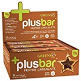 Greens+ Plusbar Protein Chocolate | Organic | Non-GMO | Soy, Dairy & Gluten Free Bars made with Peanut Butter, Whey Protein Isolate & Superfoods | 16g Protein | 70% Cacao | Box of 12 Bars