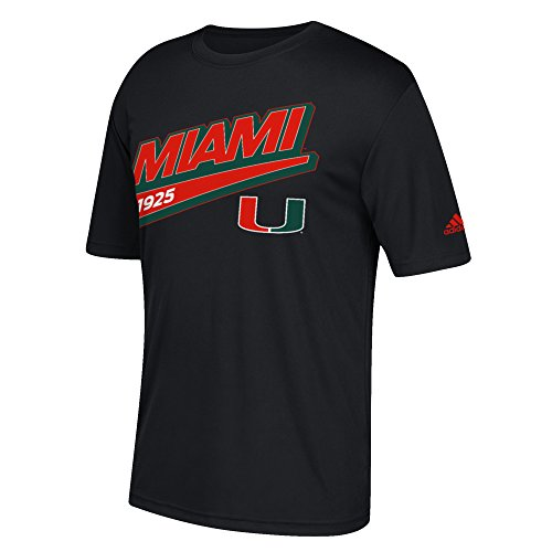 NCAA Miami Hurricanes Men's Unattached Tail Sweep Ultimate Short Sleeve Tee, Black, Large