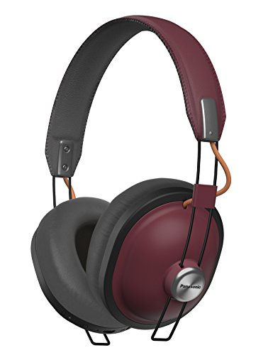 PANASONIC Wireless Retro Over-The-Ear Headphones with Bluetooth 24-Hour Playback Color Sangria (RP-HTX80B-R)